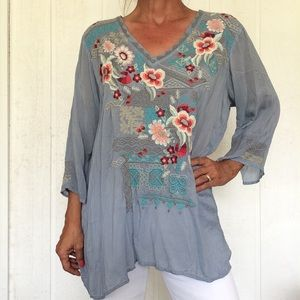 JOHNNY WAS BOHO CHIC EMBROIDERED TUNIC XL